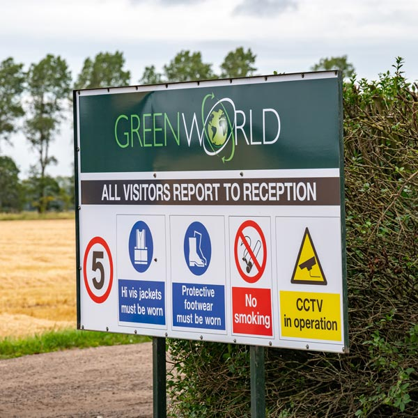 Greenworld welcome sign